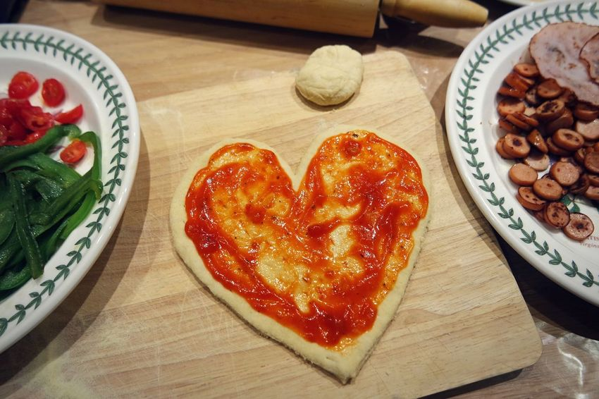 Visual Feast Food And Drink Food Indoors  Heart Shape Freshness Ready-to-eat Table Love Indulgence Bread No People Close-up Sweet Food Day Pizza
