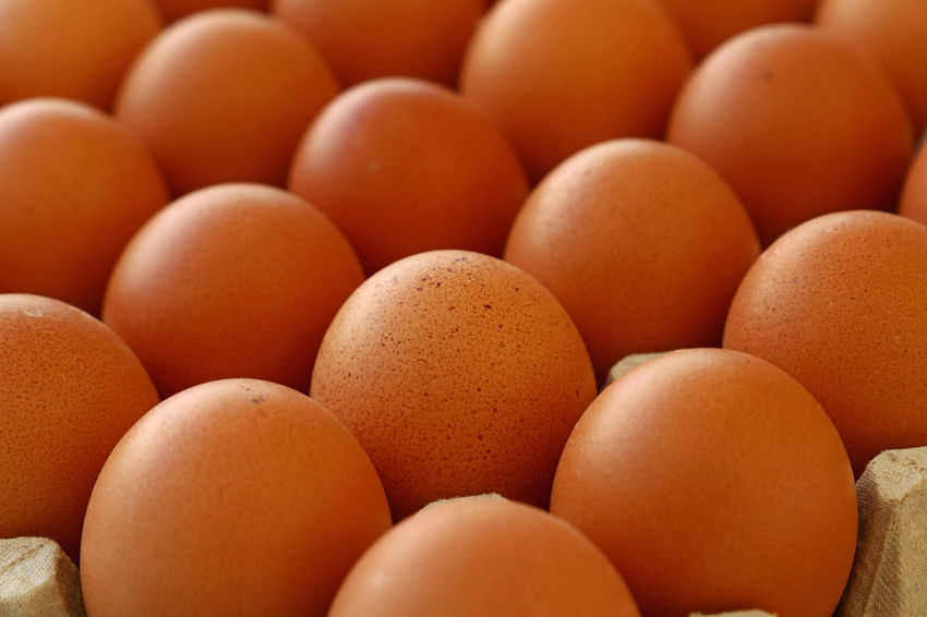 Close up of fresh brown chicken eggs in rows at retail display of farmers market Farmers Market Market Perspective Abundance Backgrounds Brown Chicken Eggs Close-up Egg Egg Carton Food Food And Drink Fragility Freshness Full Frame Healthy Eating Large Group Of Objects Market Stall Produce Raw Food Retail  Retail Display Store