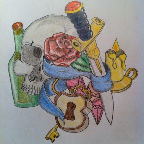 Handdrawn oldschool pirate tattoo design Tattoo Art Sketch Drawing Just A Sketch