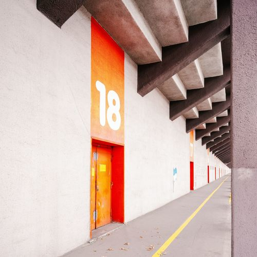 Avus, Berlin Architecture Berlin Modern Architecture Avus Grandstand Orange Color Wall - Building Feature
