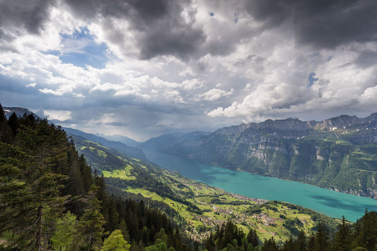 Flumserberg Beauty In Nature Cloud - Sky Day Environment Green Color Idyllic Lake Land Landscape Mountain Mountain Range Nature No People Non-urban Scene Outdoors Plant Scenics - Nature Sky Switzerland Thunderstorm Tranquil Scene Tranquility Tree Walensee