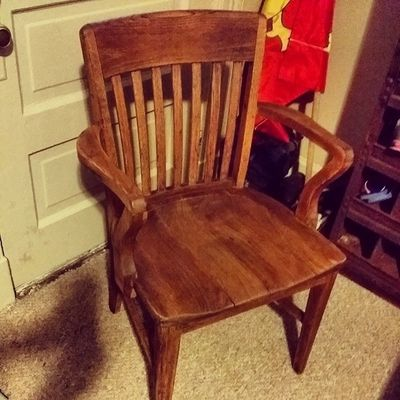 This chair was painted a very deep black and red. Today it is completed refinished bringing back it's amazing natural beauty! Just another service offered by Hinge! Hingestore Homedecor Refinish Wood