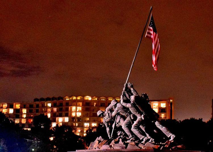 Marine Corps Memorial Celebration City Flag Marine Corps Memorial Night Outdoors Patriotism People Statue