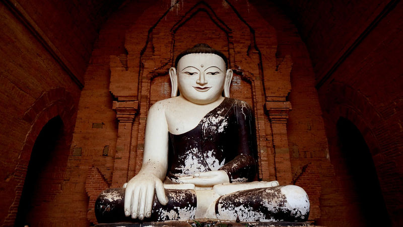 Bagan, Myanmar Brickwall Buda Bagan, Myanmar Built Structure Indoors  Low Angle View Myanmarphotos Religion Religion And Beliefs Sculpture Spirituality Temple Architecture Tourism Destination