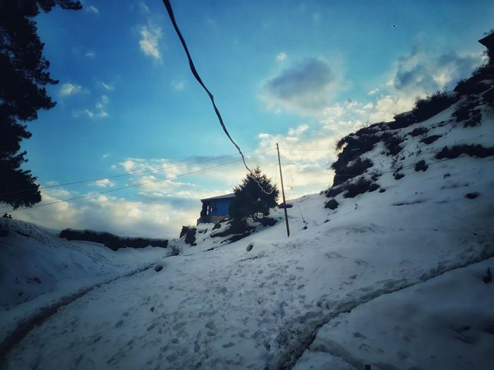 Snow Cold Temperature Cloud - Sky Winter Tranquil Scene Himachal, India MALANA VILLAGE Nature No People Sky Nature Outdoors Day Tree