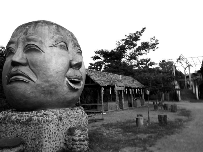 cry and smile Crying Smiling Maehongson ,Thailand Dhama Temple Blackandwhite Photography Blackandwhite Statue Sculpture Arts Culture And Entertainment Sky