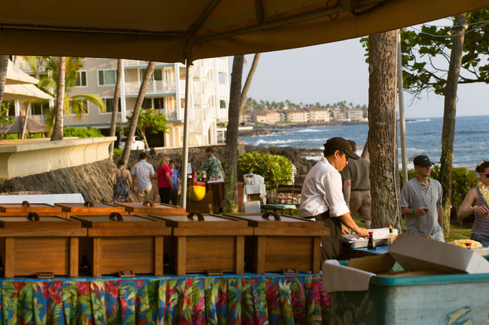 Getting ready for the luau in Kona Bay, Hawaii Day Hawaii Hotels And Resorts Leisure Activity Lifestyles Luau Ocean Ocean View Outdoors Party People Prepping Relaxation Relaxing Tourism Tourist Vacation Vacation Destination People And Places