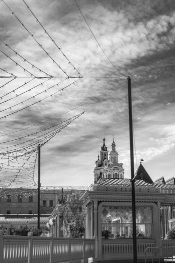Architecture Blackandwhite Building Exterior Built Structure Cable City City Cloud - Sky Day Moscow No People Outdoors People Russia Sky Travel USSR,
