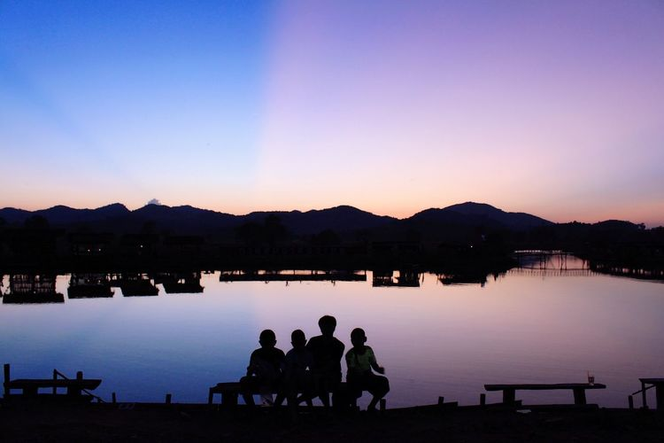 Day Life before Sunset Winter Sunset Winter Light Winter Sky Life Day Life Sunset Silhouette Water Nature Clear Sky Outdoors Beauty In Nature Sky Mountain Lake Togetherness