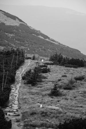 Heading towards glacial cirques called Snowy Cirque Autumn Dream Freedom Hiking Karkonosze Mountain View Relaxing Sudety Trekking Atmospheric Black And White Grainy Hiking Trail Journey Lonely Journey Misterious Mountain Journey Mountain Range Mountains And Sky No People Outdoor Photography Relaxing Moments Scenic Landscapes
