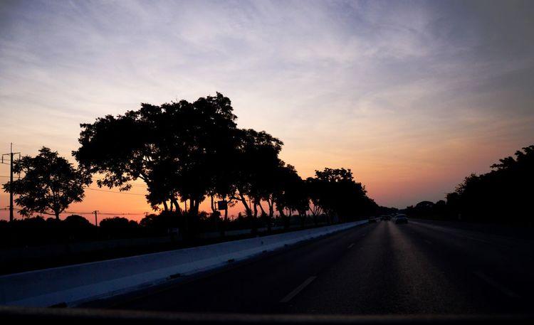 เส้นทางสายตะวันออก. This way is go to the sun.Tree Sunset Silhouette Road The Way Forward Tranquil Scene Transportation Tranquility Diminishing Perspective Long Sky Solitude Growth Nature Orange Color Beauty In Nature Cloud Field Scenics Countryside