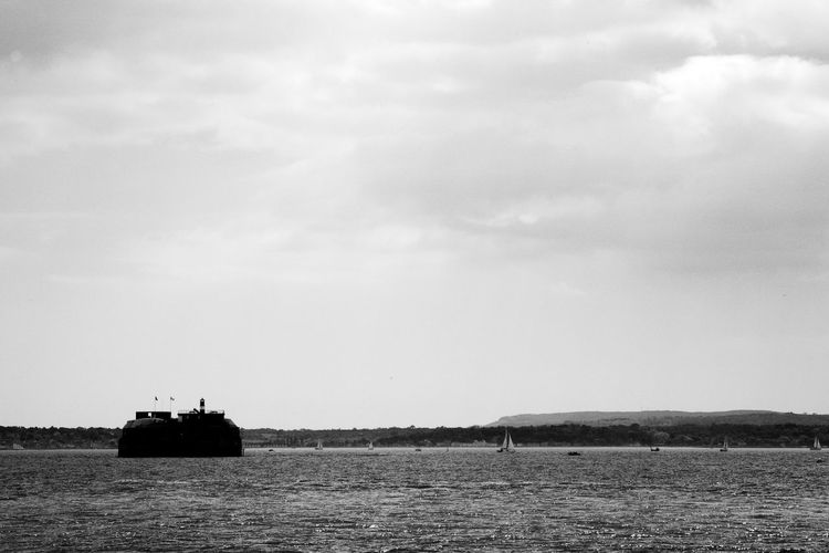 Surrounded By Sparkling Sea Black & White Island Hotel Blackandwhite Cloud - Sky Day Fort Isle Of Wight  Landscape No People Outdoors Scenics Tranquility Waterfront