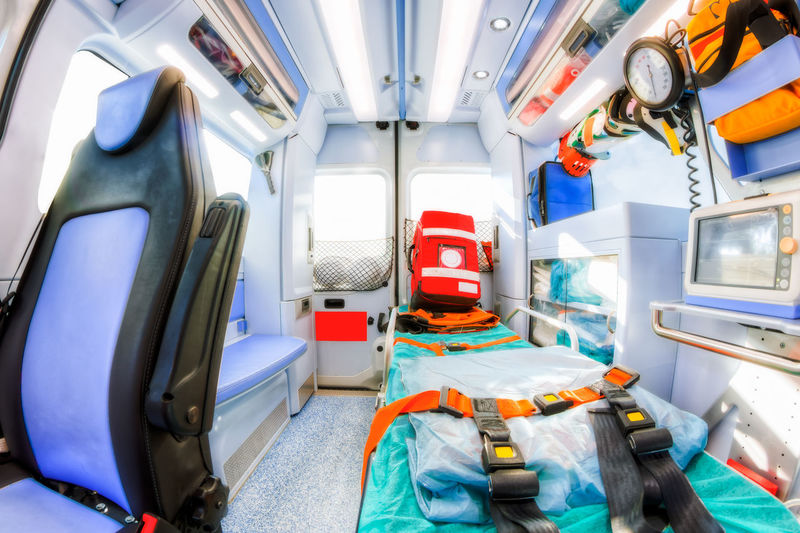 Inside of an ambulance Doctor  EMS Emergency Emergency Room Nurse Paramedic Ambulance Defibrillator Healthcare And Medicine Hospital Indoors  No People Technology Transportation Trauma Vehicle Seat