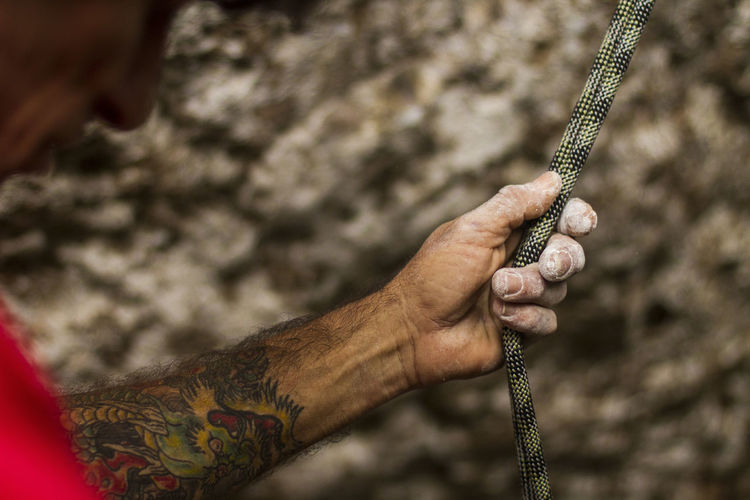 Climber Hands Climbing Ropes Danger Depth Of Field Part Of Radical Sport Rope Safety First! Security Selective Focus Side View