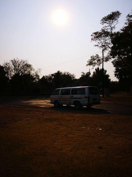 Minibus Minibuses Road Sunlight Taxi Sun City Trees Sunrise Tree Sky Vehicle