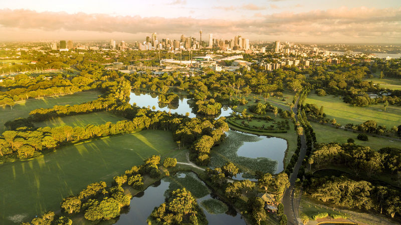 Sydney, Australia Aerial View Architecture Beauty In Nature Building Exterior Built Structure Centennial Park  City Cityscape Landscape No People Outdoors Scenics Sky Sydney Travel Destinations Tree Water