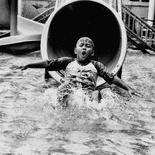 joy moment Water Childhood Fun Child Happiness Water Slide Outdoor Play Equipment Water Park Playground