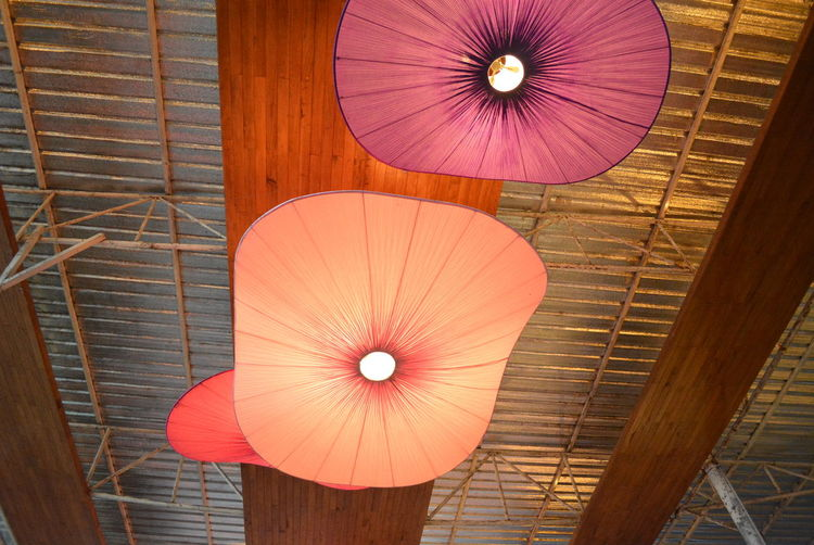 Umbrella Protection Security Indoors  Low Angle View Pattern Wood - Material Close-up Orange Color Parasol No People Day Architecture Ceiling Red Built Structure Brown Hanging Design Foldable Directly Below Sheltering