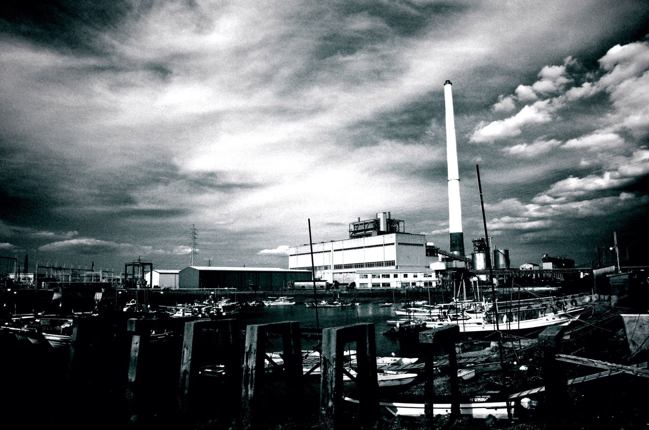 sky, architecture, built structure, cloud - sky, building exterior, nautical vessel, no people, outdoors, transportation, day, industry, water, harbor, city