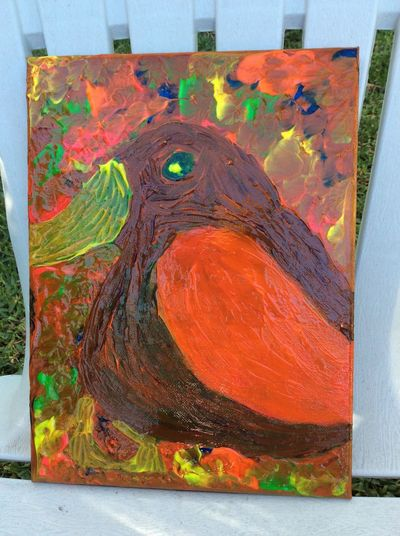 My artwork 🖌🎨🖌 Painting Bird Art Canvas Animal Outside Creative Feeling Creative #colourful