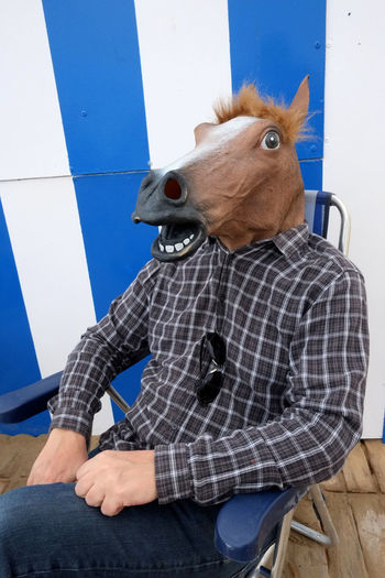Man in horse mask sitting on chair