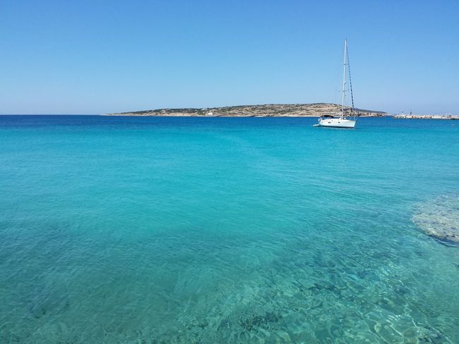 Sea Turquoise Colored Island Beach Clear Sky Sunny Outdoors Sailboat Yacht Tranquility Tranquil Scene Tranquillity Vacations Vacation Time Vacation GREECE ♥♥ Greece Greek Greek Islands Islandlife Island Life Koufonisia Koufonissi Koufonisia Greece Koufonisi