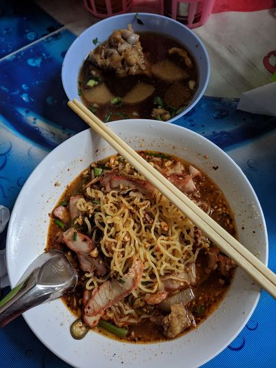 Office man's Lunch in Bangkok Thai Food Soup Egg Noodles Lunch Char Siew Tomyum Spicy Food Table Food Ready-to-eat High Angle View Chopsticks No People Close-up