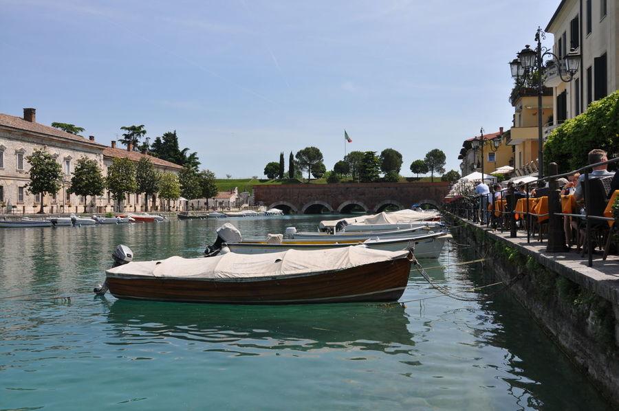 Boat Canal Clear Sky Garda Lake Gardalake Italy Lake Mode Of Transport Nautical Vessel PeschieraDelGarda Veneto Italy