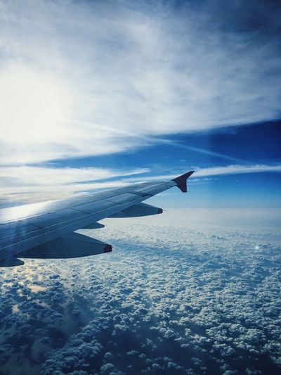 Airplane Aircraft Wing Aerial View Travel Cloud Blue Sky Nature