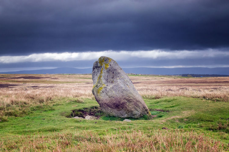 The Cop Stone, Standing Stone on Askham Moor near Penrith, Cumbria UK Askhamfell Cop Stone Field Grass Land Landscape Nature No People Penrith Plant Scenics - Nature Sky Standing Stone Tranquil Scene Tranquility