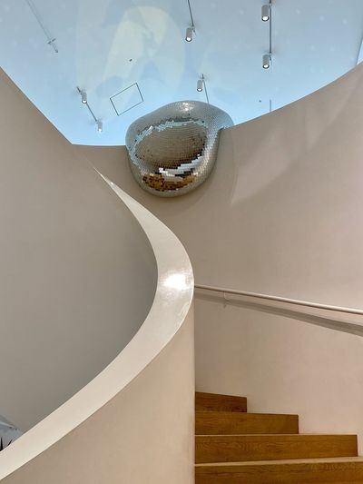 High angle view of staircase by wall at home