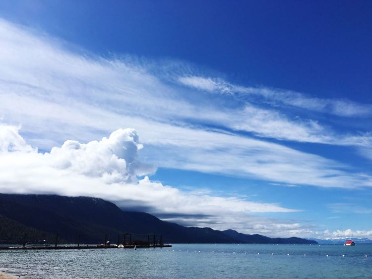 Clouds Sky Lake Lake Tahoe Incline Village Pier Storm Clouds Thunder Clouds Blue Water Nevada United States Outside Vacation