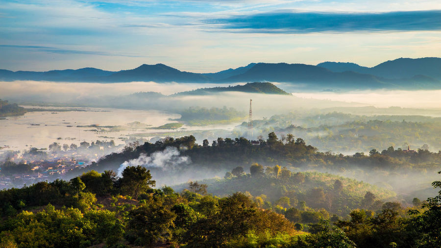 Blue City Cloud - Sky Fog Forest Landscape Morning Mountain Nature No People Outdoors Sky Sunset Travel Tree