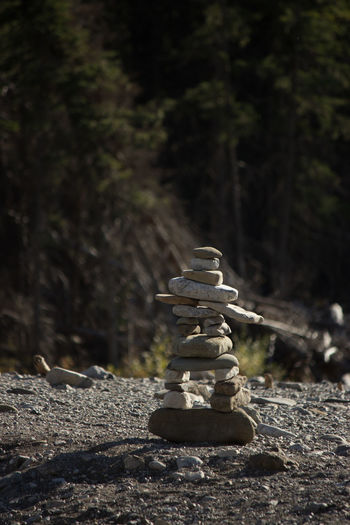 Close-up of chess pieces on rock