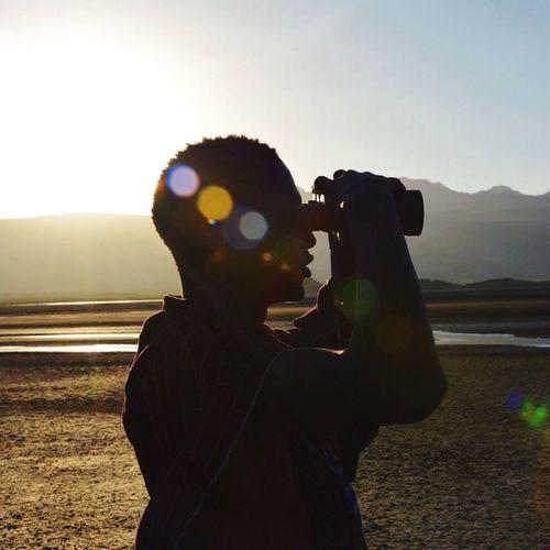 Watching flamingos Remote Binoculars