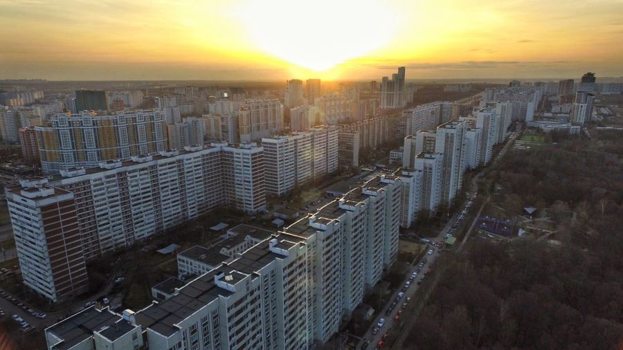 Sunset over Kuntsevo district of Moscow Moscow Over The Rooftops Over The Roofs Aerial Shot From Above  City From Above Cityscapes City Urban Sunset Showcase April Москва кунцево над крышами Полет весна Springtime Aerial View City From Air Aerial Photography Aerialphotography