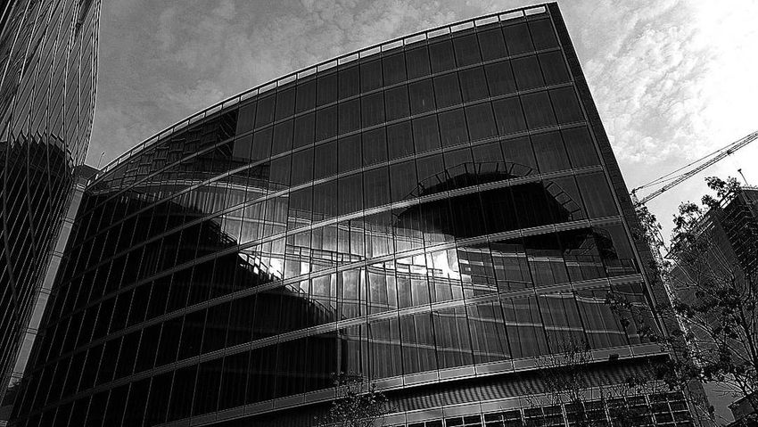 Architecture Built Structure Low Angle View Sky Building Exterior Outdoors No People Day Reflection Reflections Blackandwhite Milano Milan,Italy Black And White Black & White Blackandwhite Photography