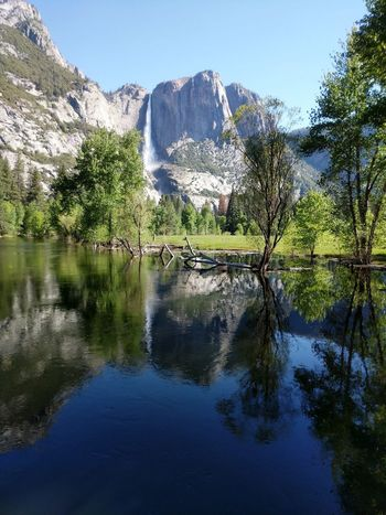 Yosemite National Park Yosemite Falls Reflection Water Nature Outdoors Beauty In Nature Sky Scenics Waterfall Spring