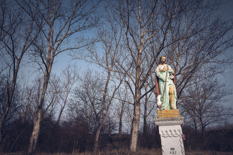Low angle view of statue against bare trees