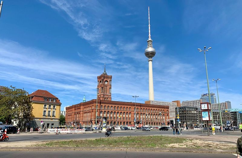 Fernsehturm Fernsehturm Berlin  Fernsehturm / Tv Tower Rote Rathaus Architecture Built Structure Building Exterior City Sky Building Crowd Travel Tourism Travel Destinations Large Group Of People Tower Tall - High Nature Real People Group Of People Street Incidental People Cloud - Sky Spire