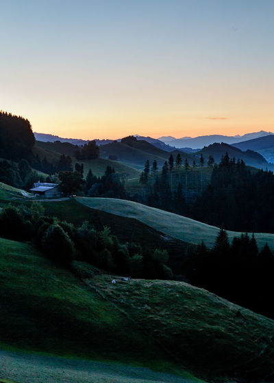 Appenzell Beauty In Nature Clear Sky Copy Space Environment Idyllic Land Landscape Mountain Mountain Range Nature No People Non-urban Scene Orange Color Plant Rolling Landscape Scenics - Nature Sky Sunset Tranquil Scene Tranquility Tree