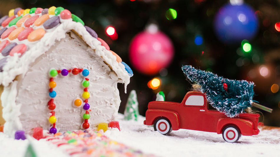 Gingerbread house Gingerbread Holiday Food Gingerbreadhouse Red Truck Gingerbread House Truck Background Christmas Bokeh Night Before Christmas Holidays Candy Candycane  Candy Cane Bokeh Treat Food EyeEm Selects Christmas Winter Car Snow Celebration Christmas Decoration Christmas Tree Snowflake Christmas Present No People