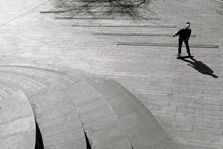 High Angle View Of Man Skateboarding At Park