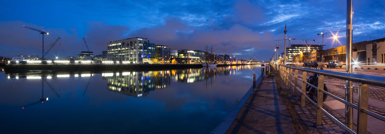 The river Liffey in Dublin at night. Architecture Building Exterior Built Structure City Dublin, Ireland Flowing Flowing Water Liffey Liffeybridge Liffeyriver Long Exposure Night Night Lights Nightphotography Panorama Panorama View Panoramic Reflection Reflections In The Water River Sky Water Waterfront Wide Angle Wide Shot