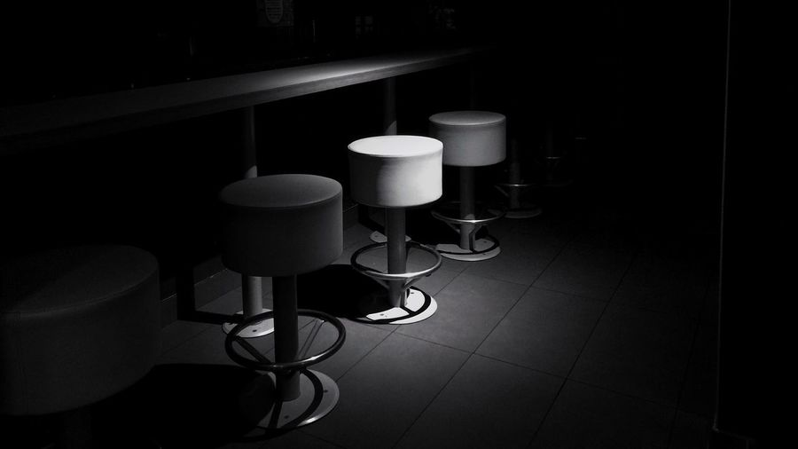 Empty stools at bar