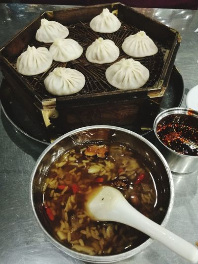 Dumpling  Bowl Chinese Food Preparation  High Angle View Chinese Dumpling Dim Sum Close-up Food And Drink