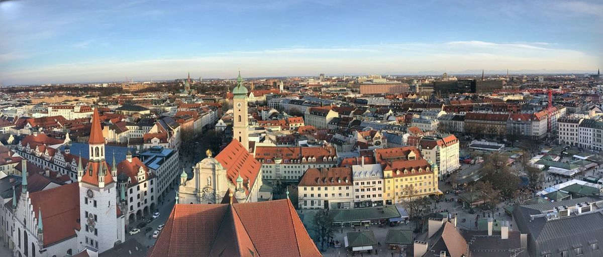 Munich landscape Architecture Building Exterior Built Structure Cityscape Crowded City Sky Roof Outdoors Town High Angle View