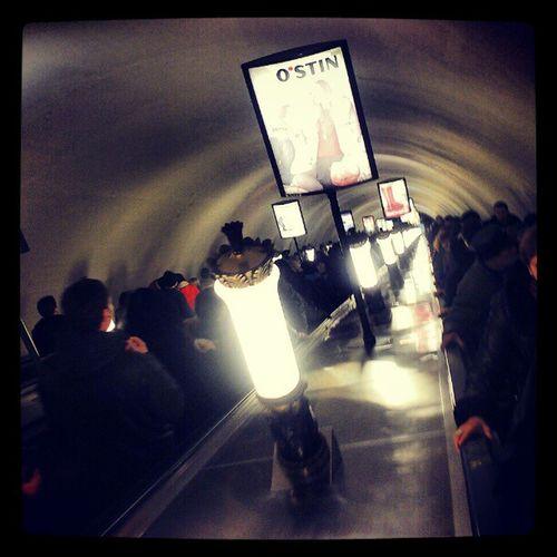 Endless escalator leading to the underground