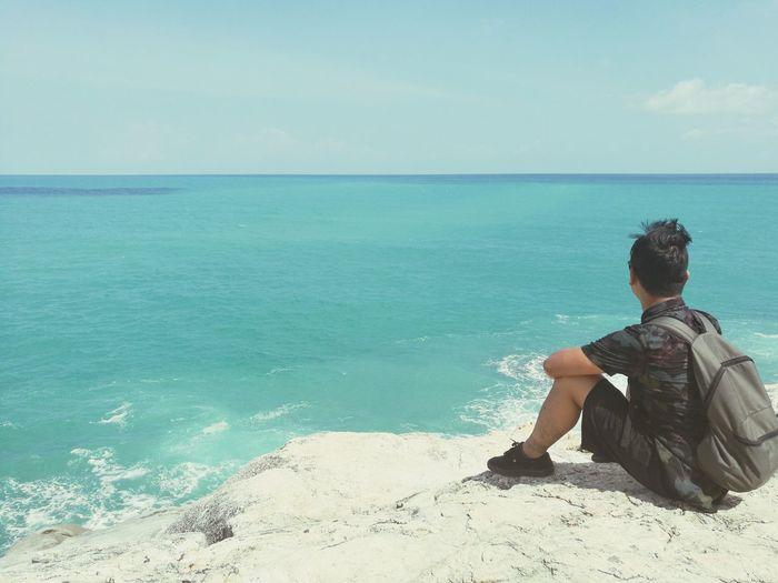 Sitting Beach One Person Ocean View Sunlight Water Sky Sea