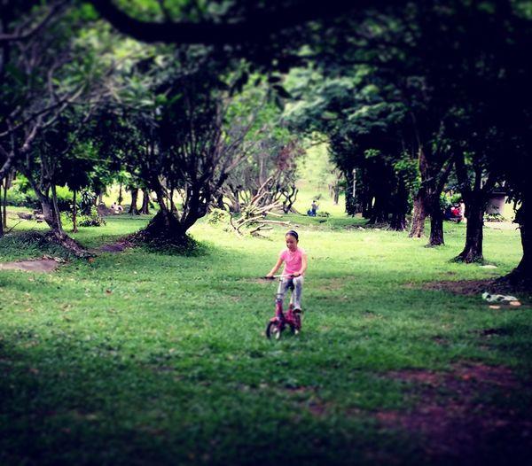 Boy walking on golf course
